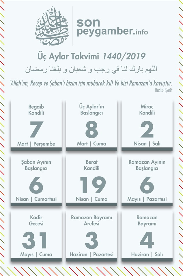 Ramazan takvimi 2019
